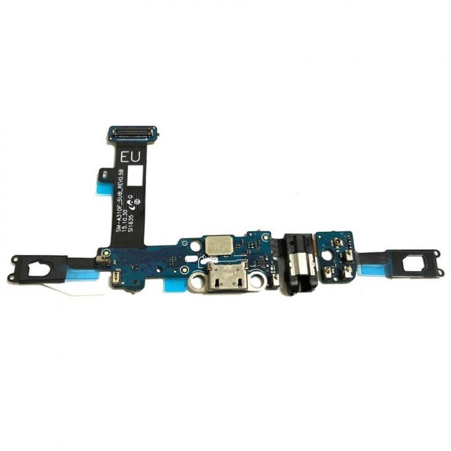 Шлейф с разъемом зарядки, микрофоном, сенсорными кнопками и механизмом кнопки Home для Samsung Galaxy A3 A310F (копия AAA)