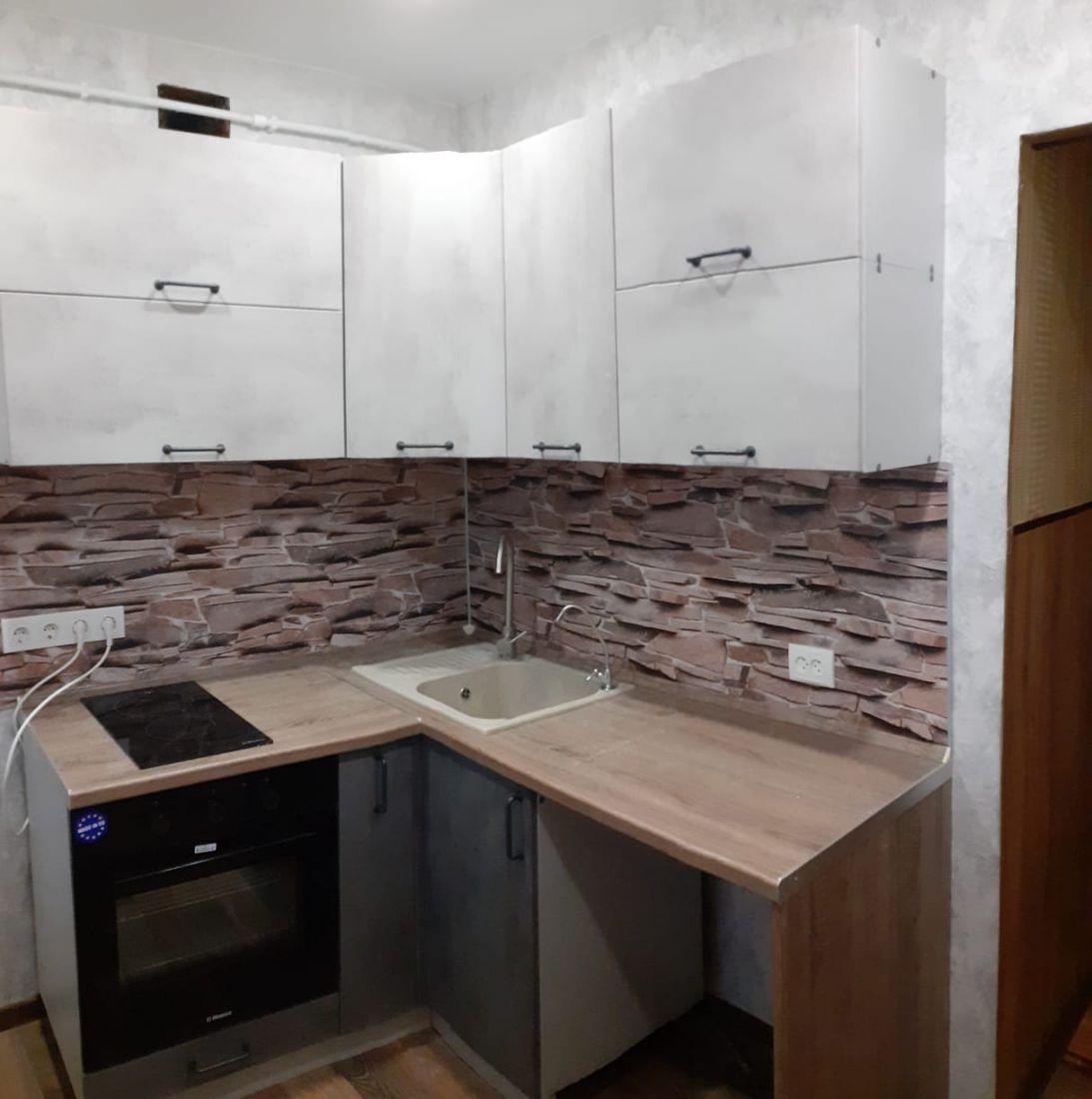 "Кухонный гарнитур ""Лофт"" цвет бетон светлый/бетон тёмный"