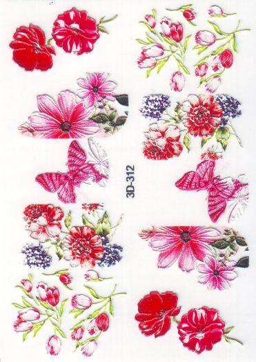 3D Слайдер-дизайн 3D 312 красные цветы, бабочки