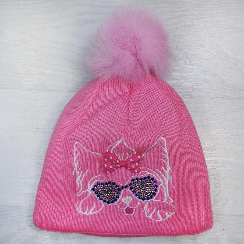 язд1150-47 Шапка вязаная с эко-помпоном вышивка Собачка розовая