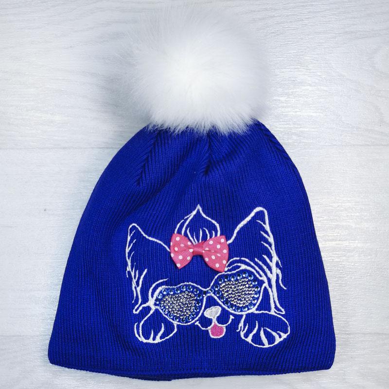 язд1150-53 Шапка вязаная с эко-помпоном вышивка Собачка синяя