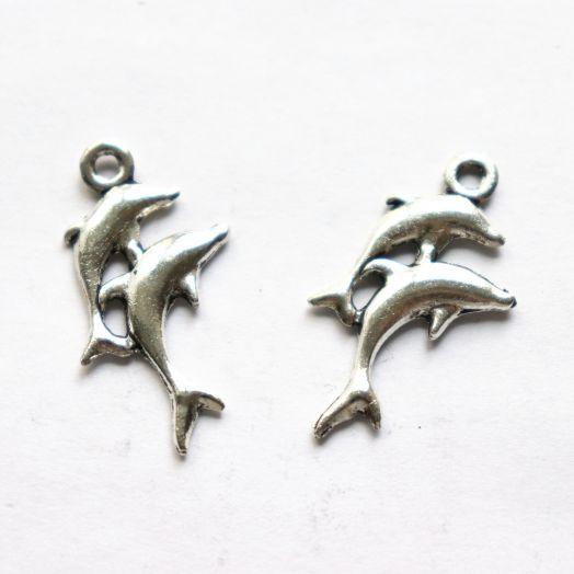 Подвески металлические, Два дельфина, 25 мм, тибет.серебро, 2 шт/упак