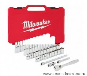 Набор метрических и дюймовых головок с трещеткой 3/8 дюйма 56 предмета в чемодане MILWAUKEE 4932464946