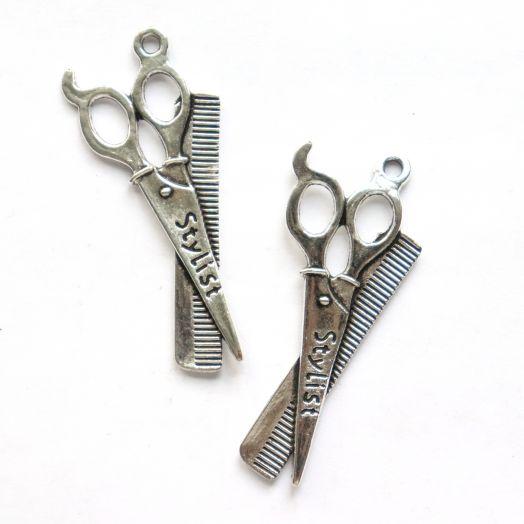 Подвески металлические, Ножницы и расческа, 52*20 мм, тибет.серебро, 2 шт/упак