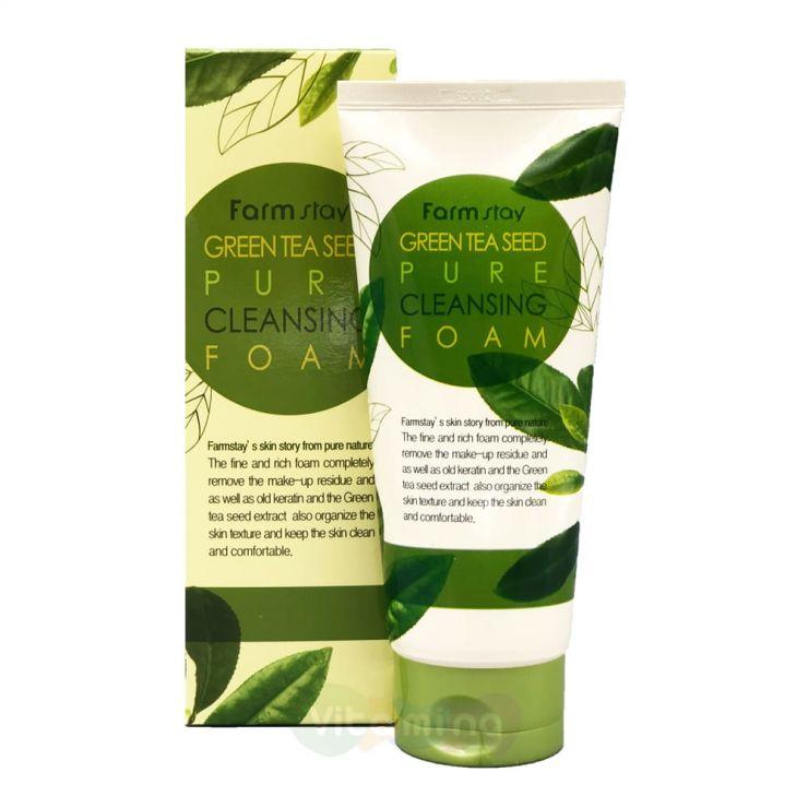 FarmStay Пенка для умывания с экстрактом зеленого чая Green Tea Seed Pure Cleansing Foam, 180 мл