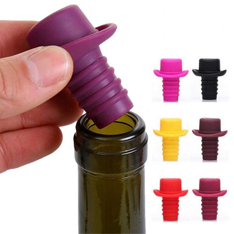 Пробка Для Бутылок Шляпа Silicone Bottle Stoppers, Цвет Бордовый