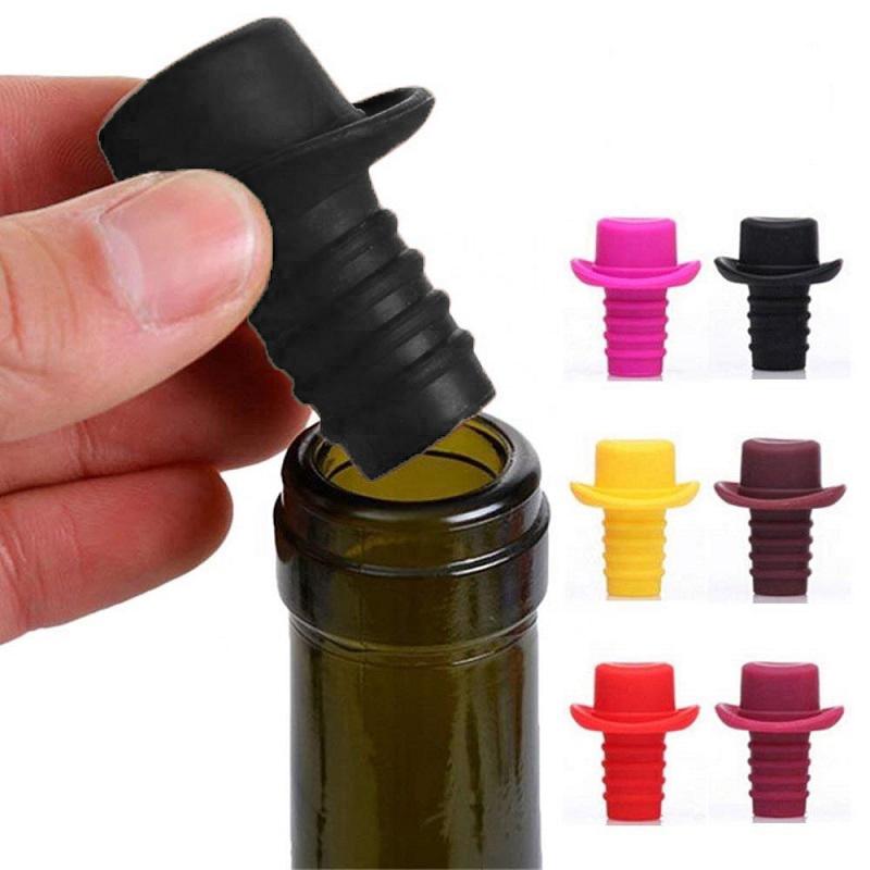 Пробка Для Бутылок Шляпа Silicone Bottle Stoppers, Цвет Черный