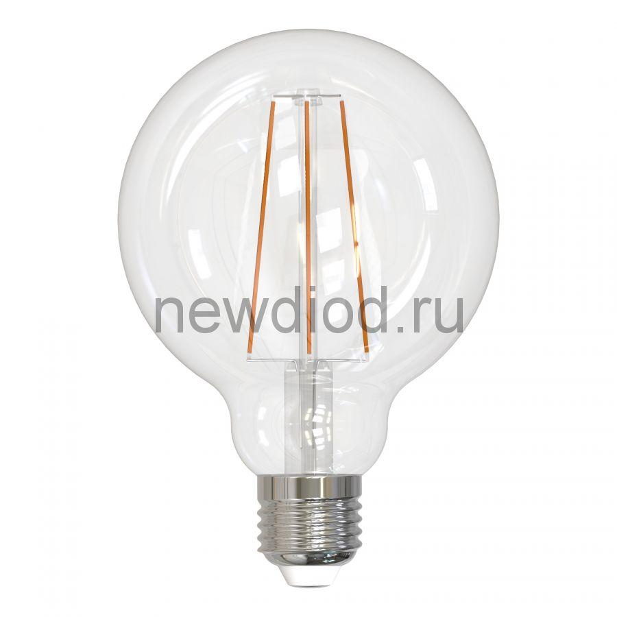 Лампа сд LED-G95-10W/4000K/E27/CL PLS02WH шар прозр серия Sky 4000K Uniel
