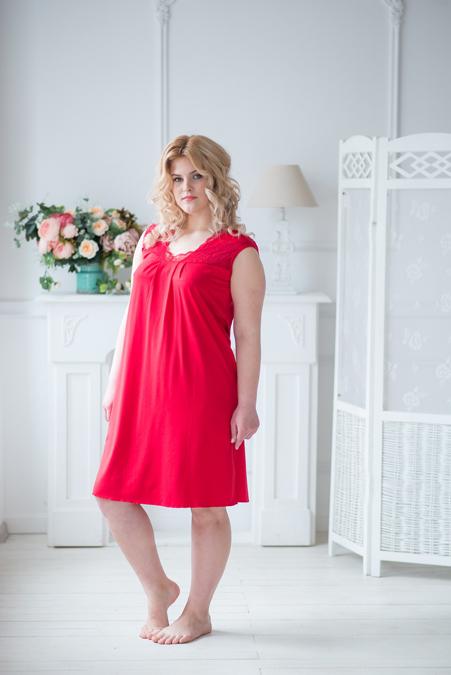 Ночная сорочка арт.0008 красная, вискоза