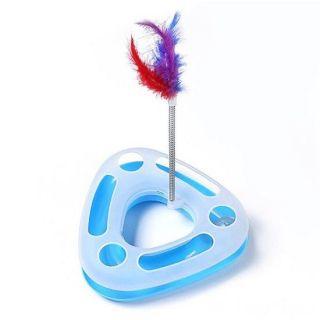 Треугольный трек-игрушка для кошек Happy Circle, Цвет: Голубой