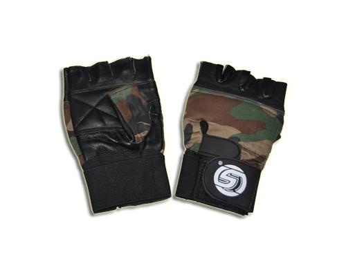 Перчатки тяжелоатлета, Материал: кожа, ткань. Цвет камуфляжный. Размер XL. 16348