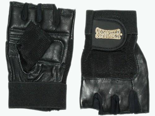 Перчатки для тяжёлой атлетики. Материал: кожа, ткань. Цвет чёрный. Размер XL. 16227