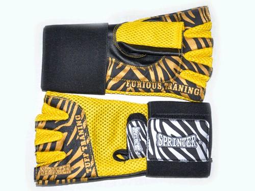Перчатки для тяжёлой атлетики. Материал: кожа, ткань.Цвет жёлтый. Размер XXL. 16598