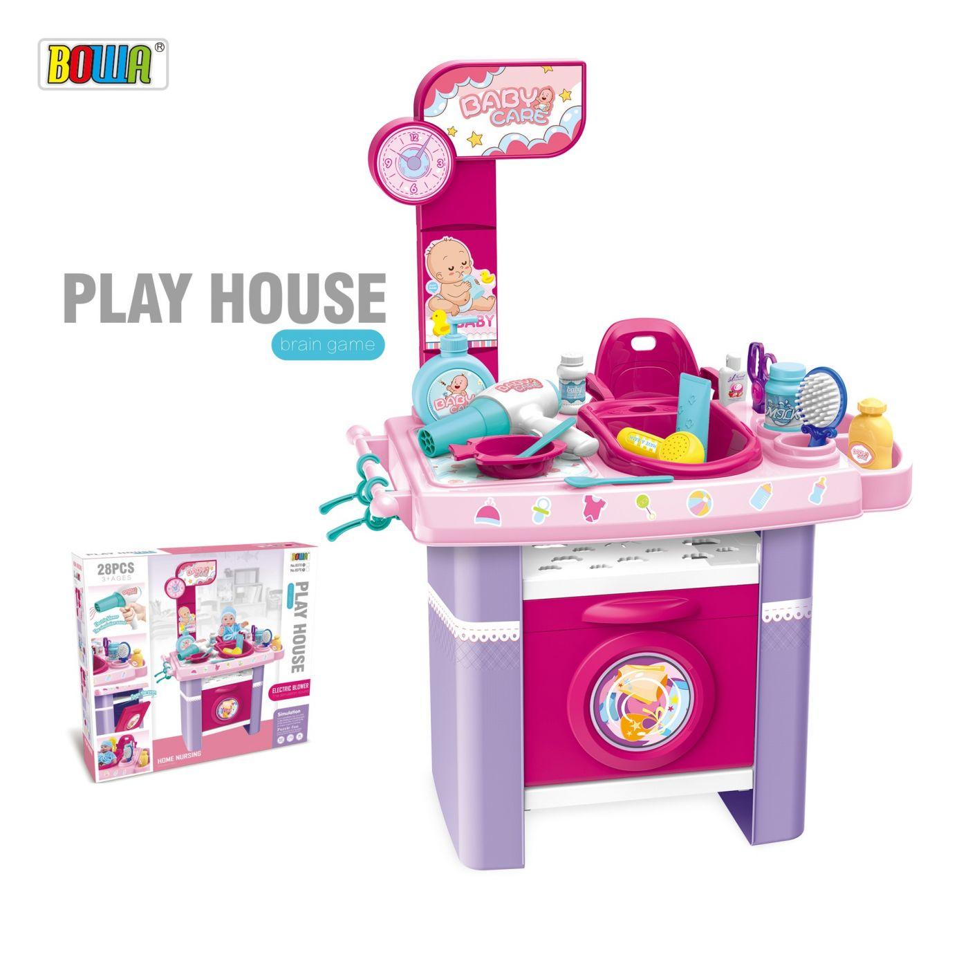Игрушечная стиральная машинка с ванночкой и пеленальным столиком 8370B