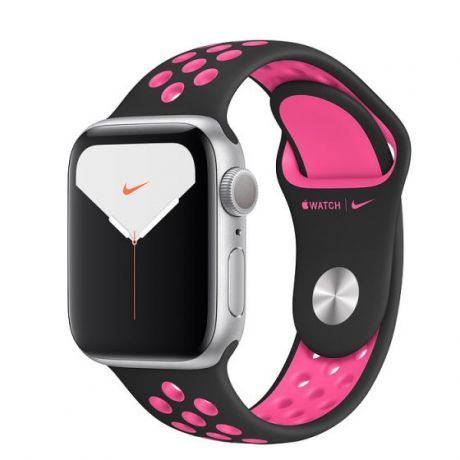 Apple Watch Nike Series 5 Silver Aluminum Case 44mm GPS Black/Pink Blast with Nike Sport Band