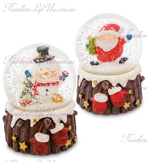"Шар - пенек со снегом ""Санта и снеговик"""