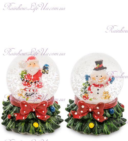 """Шар - елочка со снегом """"Санта и снеговик"""""""