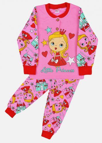 Пижама с начесом, для девочек 2-6 лет BN1251 розовая