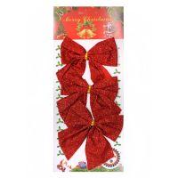 Новогоднее украшение Блестящие бантики, 3 шт, цвет красный (2)