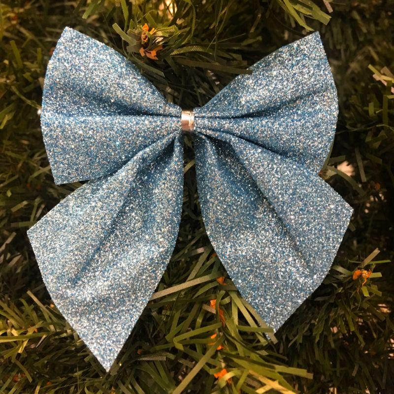 Новогоднее Украшение Блестящие Бантики, 3 Шт, Цвет Синий