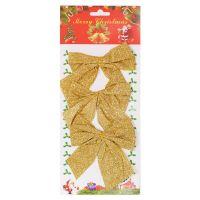 Новогоднее украшение Блестящие бантики, 3 шт, цвет золотистый (2)
