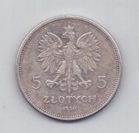 5 злотых 1830 - 1930 года XF Редкий тип Польша