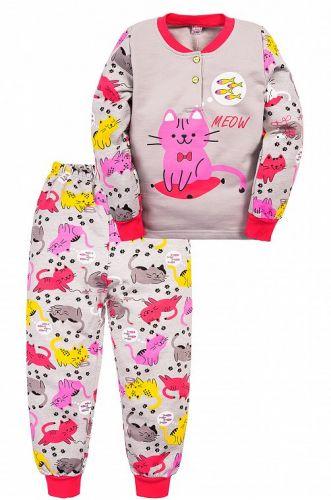 Пижама с начесом, для девочек 2-6 лет BN1251 серая