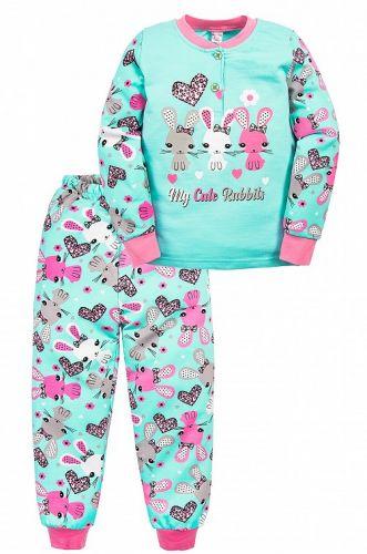 Пижама с начесом, для девочек 2-6 лет BN1251 бирюзовая