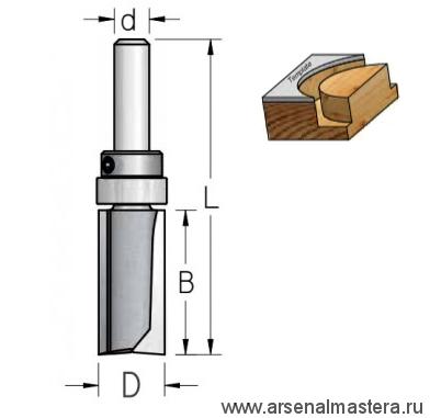 Фреза обгонная верхний подшипник D 12,7 B 25 Z 2 хвостовик 6 WPW HPF4123