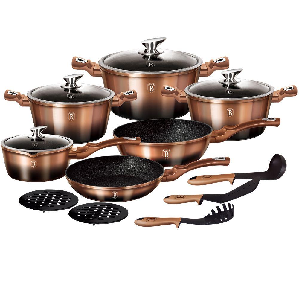 Набор посуды 15 пр. BerlingerHaus ВН-1900 Rosegold Noir Metallic Line
