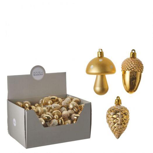 Набор шишка/желудь/гриб 8см золото