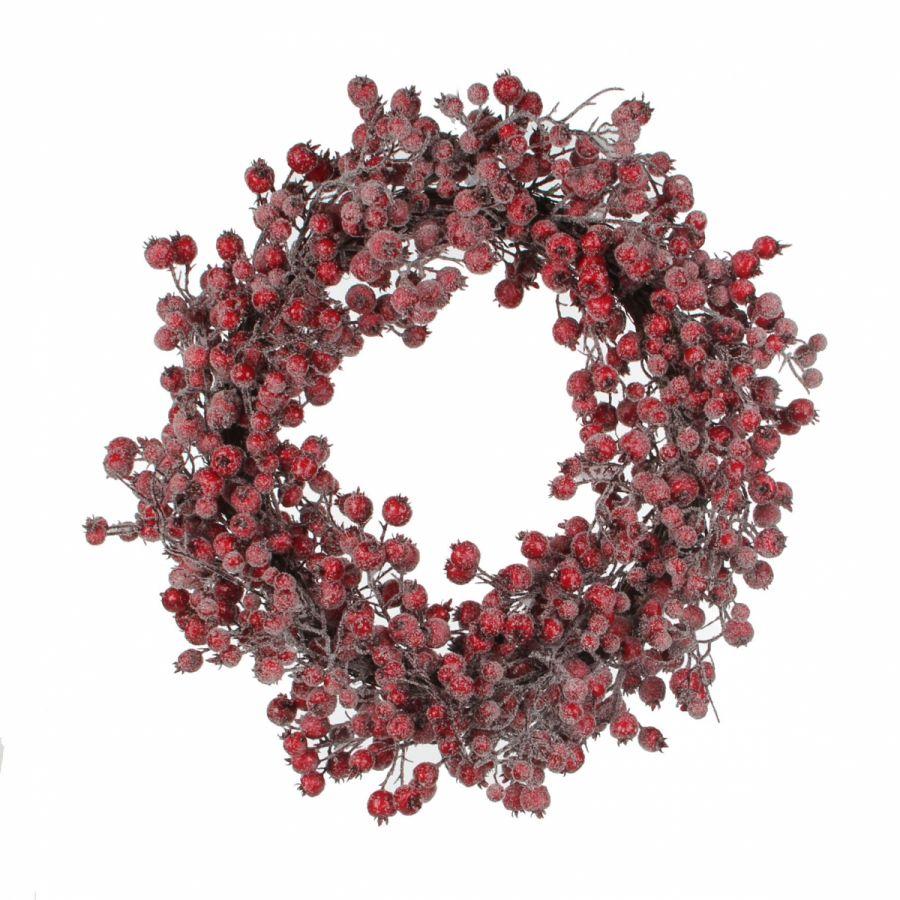 Венок с ягодами диам. 55 см красный заснеженный