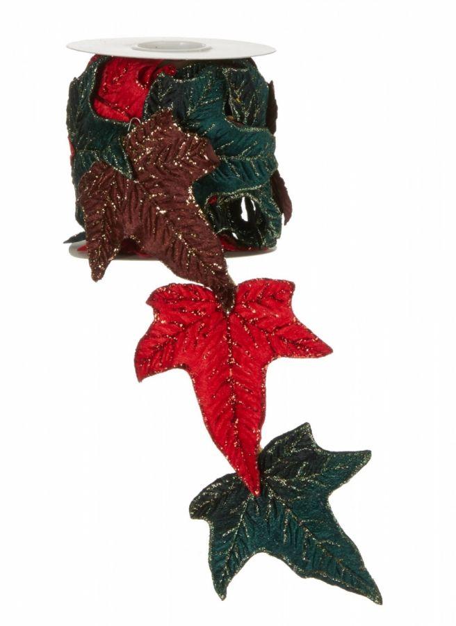 Лента листок зеленый/красный/коричневый