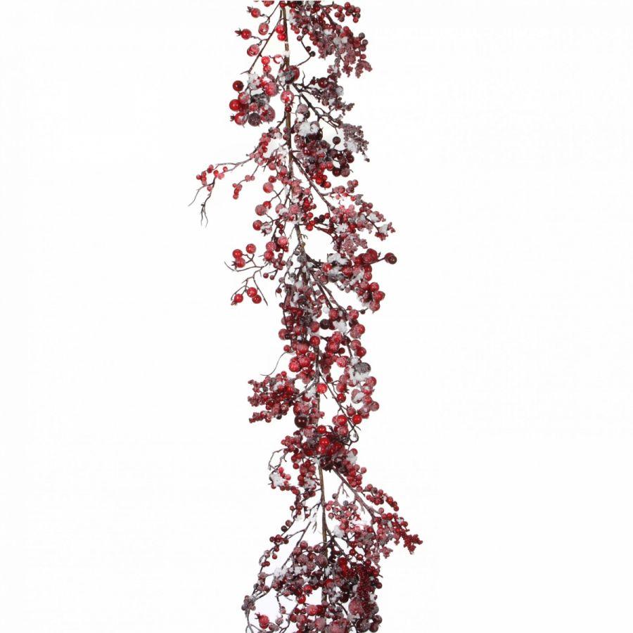 Гирлянда с ягодами 180*16 см красная в снегу