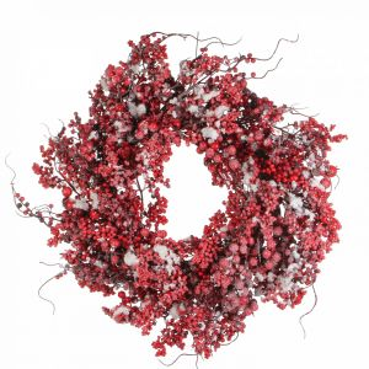 Венок с ягодами диам. 60 см. красный в снегу