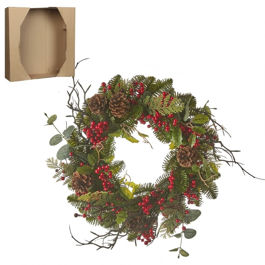 Венок украшенный с ягодами 10*40см зеленый