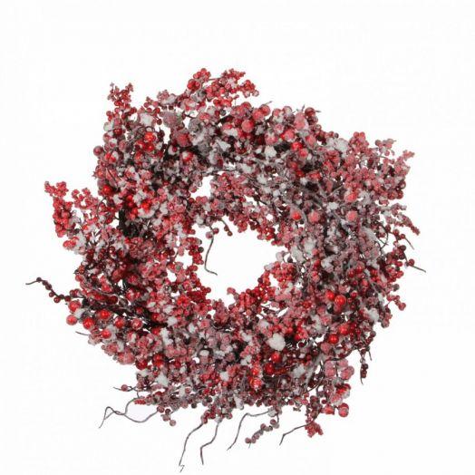 Венок с ягодами диам 50 см красный в снегу