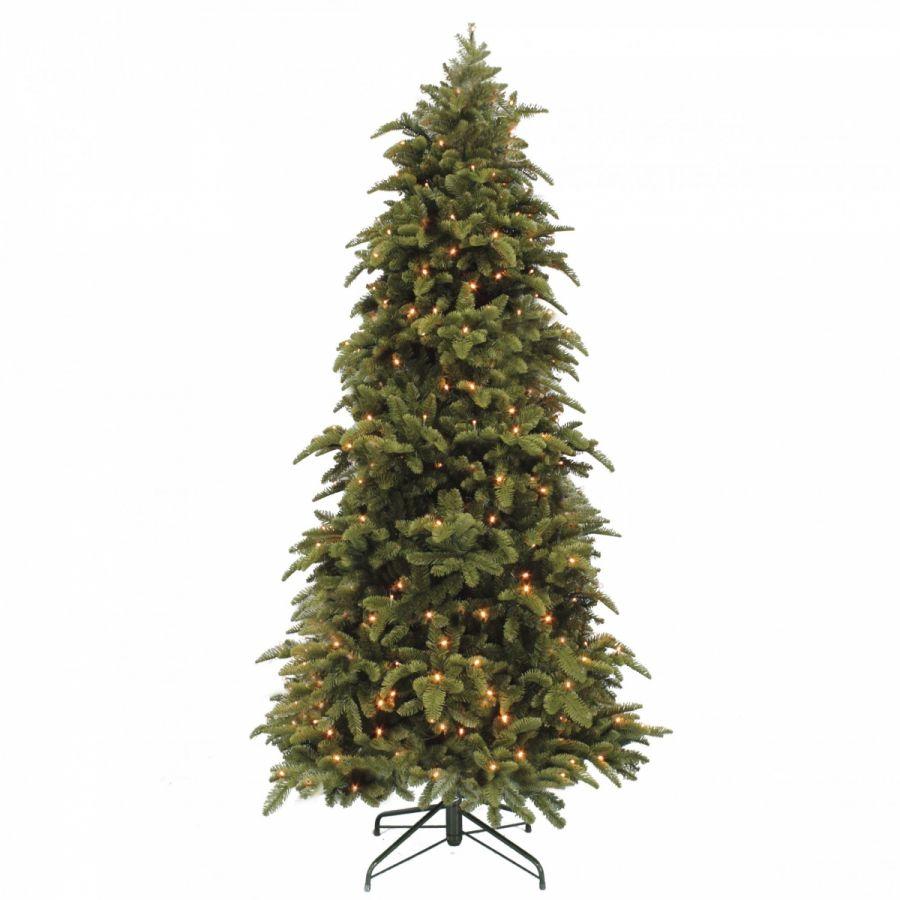 Искусственная елка Нормандия стройная 260 см 456 лампы темно-зеленая