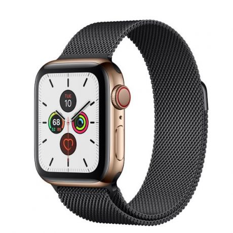 Apple Watch Series 5 Gold Stainless Steel Case 44mm GPS + Cellular Space Black with Milanese Loop