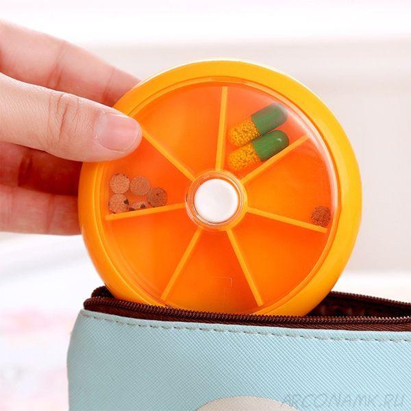 Автоматическая таблетница с 7-ю отделениями, Цвет: Оранжевый