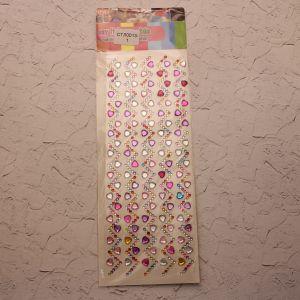 `Стразы(бусины) клеевые на листе 9,5*26,5см, Арт. Р-СТЛ0013-1