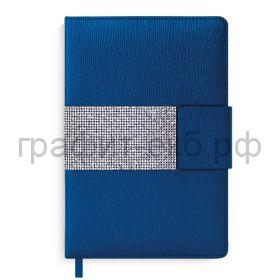 Ежедневник А5 недат.Феникс+ КАСАМИЛО стразы магнитный клапан синий металлик 50501