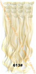 Искусственные волнистые термостойкие волосы на заколках №613 (55 см) - 7 прядей, 100 гр.