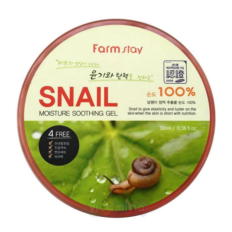 FarmStay Увлажняющий успокаивающий гель c муцином улитки Snail Moisture Soothing Gel, 300 мл