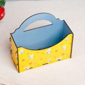 """Кашпо флористическое """"Конверт. Мышка и сыр"""", 19,7×6,8×17,6 см"""
