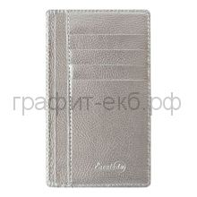 Чехол для карт Феникс+ органайзер карман на молнии 9,2х14,2см НАППА серебряный 48416