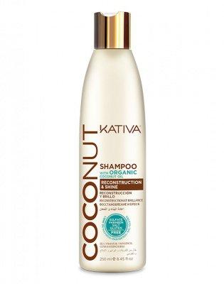 Восстанавливающий шампунь с кокосовым маслом для поврежденных волос Coconut, Kativa, 250 мл
