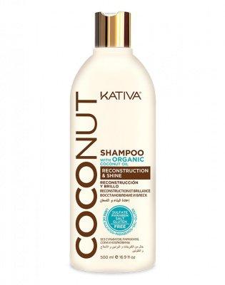 Восстанавливающий шампунь с кокосовым маслом для поврежденных волос Coconut, Kativa, 500 мл
