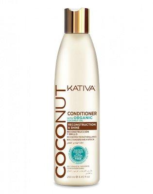 Восстанавливающий кондиционер с кокосовым маслом для поврежденных волос Coconut, Kativa, 250 мл