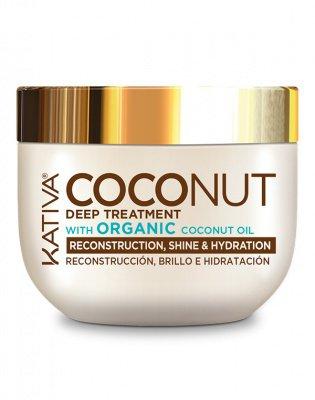 Восстанавливающая маска с кокосовым маслом для поврежденных волос Coconut, Kativa, 250 мл